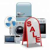 image of ventilator  - Household Appliances Sale Concept with billboard - JPG