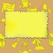 picture of treasure map  - Illustration of seamless pirate symbols background with blank treasure map - JPG