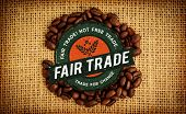 image of free-trade  - Fair Trade graphic against coffee beans formed into shape - JPG
