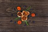 picture of apricot  - Dried Food ingredients vegetables on the tabel - JPG
