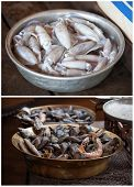 picture of stall  - Traditional asian market stall full of fresh seafood collage - JPG