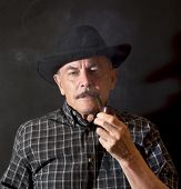 image of hillbilly  - Cowboy in hat with Pipe  - JPG