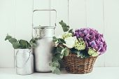 picture of hydrangea  - Big bouquet of fresh flowers - JPG