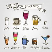 stock photo of alcoholic beverage  - set of vector hand drawn drinks and beverages - JPG