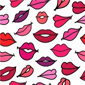 picture of hand kiss  - vector red hand drawn kisses lips seamless background - JPG