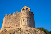 foto of yellow castle  - Medieval stone castle on the rock in Spain - JPG