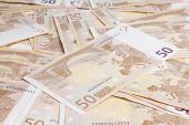 picture of fifties  - Closeup of a group of fifty euros banknote background - JPG
