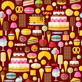 stock photo of ice-cake  - Sweet food icons seamless pattern - JPG