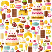 stock photo of lollipop  - Sweet food icons seamless pattern - JPG