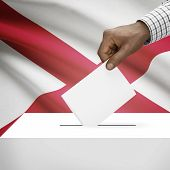 picture of alabama  - Ballot box with US state flag on background  - JPG