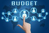 picture of budget  - Budget concept with hand pressing social icons on blue world map background - JPG