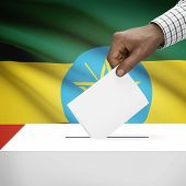 picture of ethiopia  - Ballot box with flag on background  - JPG