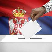 pic of serbia  - Ballot box with flag on background  - JPG