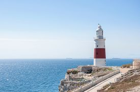 picture of gibraltar  - Europa Point Lighthouse on a shore of Gibraltar - JPG
