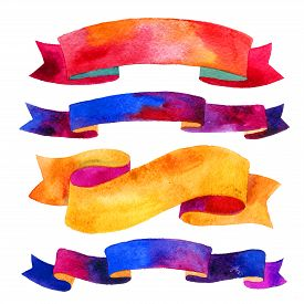 image of colorful banner  - Watercolor ribbons and banners for text - JPG