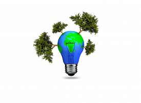 stock photo of save earth  - Earth in light bulb isolated on a white background - JPG