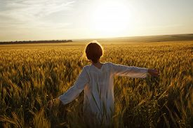 stock photo of paysage  - Young woman in a field of ripe wheat - JPG