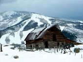 foto of colorado high country  - Famous barn at the base of the Steamboat Springs ski mountain in Colorado - JPG