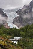 Bridge Over The Stream At Briksdal Glacier