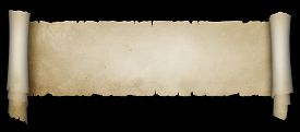 picture of scroll  - Scroll of ancient parchment scroll on black background - JPG