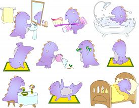 foto of dragon  - Crummy bellied dragon is sleeping doing exercises washing his hands taking bath eats his breakfast or dinner and watering flowers - JPG