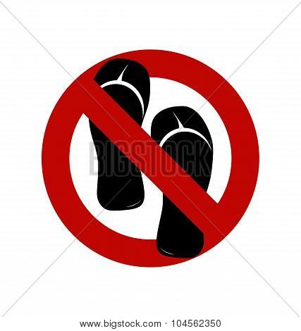 No Sandals No Shoes No Slippers Sign On White Background No Ban