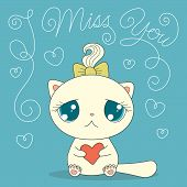 Cute Cat With Heart poster
