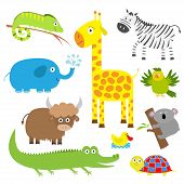 Постер, плакат: Cute Animal Set Baby Background Koala Alligator Giraffe Iguana Zebra Yak Turtle Elephant D