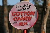 pic of candy cotton  - colorful cotton candy sign at amusement park - JPG