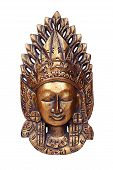 pic of arjuna  - Wooden mask of god Vishnu isolated on white - JPG