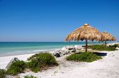 stock photo of tiki  - Tiki Hut on the beautiful Florida Beaches - JPG