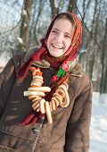 Girl In Sheepskin With Round Cracknel