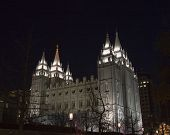 Salt Lake Temple Northwest Side At Night
