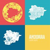 Постер, плакат: Andorra Grunge Retro Map