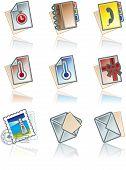 Design-Elemente 43 C. Papierarbeiten Icons Set