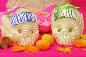 picture of mexican food  - Sugar skulls from a day of the day Mexican holiday Dia de los Muertos - JPG