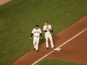 Giants Aubrey Huff Talks To 3Rd Base Coach Between Plays