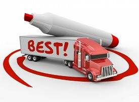 stock photo of semi-circle  - Best word written on a truck trailer circled by a red marker to illustrate the best carrier company or business choice - JPG