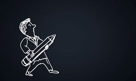 picture of caricatures  - Caricature of funny man with pencil on black background - JPG