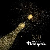Happy New Year Party Drink Gold Glitter Dust Card poster