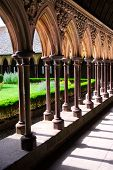 picture of mont saint michel  - Cloister in Mont Saint Michel abbey in France - JPG