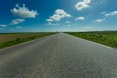 Empty Asphalt Country Road Passing Through Green And Flowering Agricultural Fields. Countryside Land poster