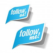 Follow me and follow us bubbles. Vector.