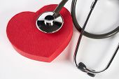 Red Heart And A Medical Stethoscope Isolated On White poster