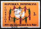 Dominican Republic - Circa 1975: A 3-centavo Stamp Printed In The Dominican Republic Shows A Circle