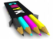 Box With Pencils. Cmyk