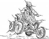 vector - four wheeler jump, isolated on background
