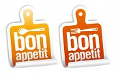 Bon appetit stickers set.