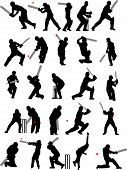 image of cricket bat  - 25 detail cricket poses in isolated silhouette - JPG