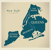 Modern City Map - New York City Of The Usa With Boroughs And Titles poster